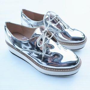 ZARA Women metallic silver platform oxford shoes